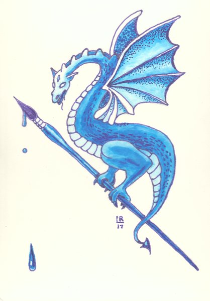 Watercolor painting of a blue dragon holding a paintbrush